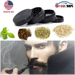 US 4-Piece Herb Grinder Spice Tobacco/Weed Smoke Zinc Alloy