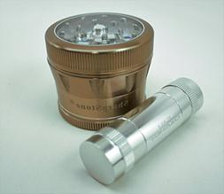 Sharpstone V2 Clear Top Bronze Grinder with a Cali Crusher P