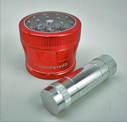 "Sharpstone V2 Clear Top 2.5"" Red Grinder with a Cali Crusher"