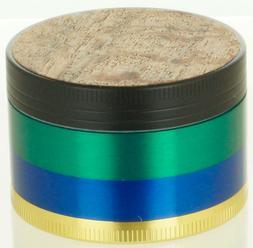 """Wood Top Sticker Grinder 2"""" 4 Piece Diamond Teeth Spice Herb"""
